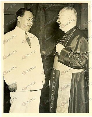 1949 NEW YORK (USA) Francis SPELLMAN Cardinal and Elpidio QUIRINO of PHILIPPINES