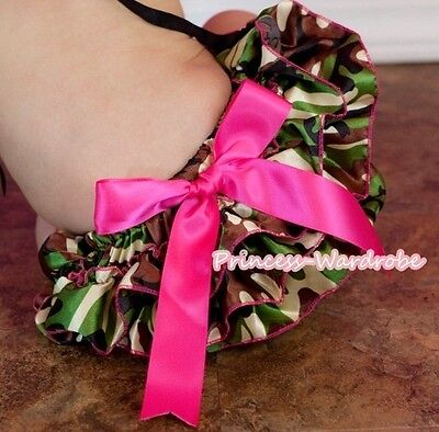 Newborn Fatigues Camo Camouflage Baby Girl Bloomers Pantie Bow Pettiskirt 6m-3Y