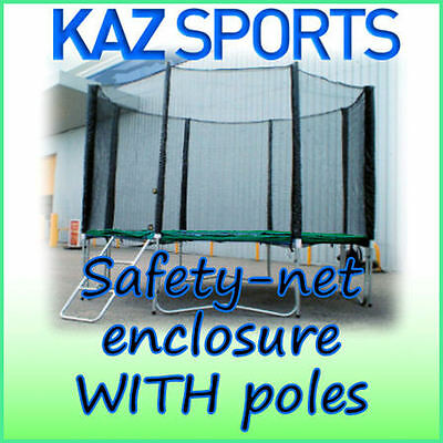 Safety-Net Enclosure / Surround With Poles And Fixings For Trampoline