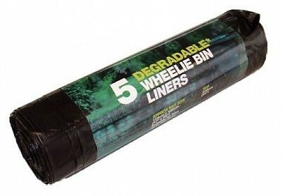 5 Pack Degradable Black Wheelie Bin Liners Environmentally Friendly 240 Litres