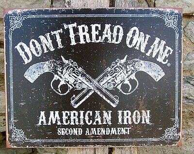 Retro Sign Antique Style Don't Tread On Me Gun 2nd Amend Ad Metal Wall Decor USA