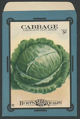 *Original* BURTS SEED 5 Cent Packet CABBAGE LARGE DUTCH Vegetable 1910's *RARE*