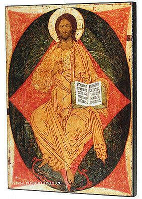 RUSSIAN ORTHODOX ICON - CHRIST IN MAJESTY. Dionisi. Early XV th century.