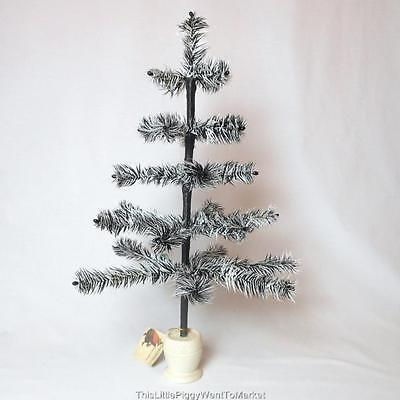 """Bethany Lowe Designs ~ 19"""" BLACK & WHITE TIGER FEATHER HALLOWEEN TREE"""
