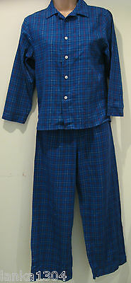 Blue checked unisex pyjama sets (NEW) large or medium