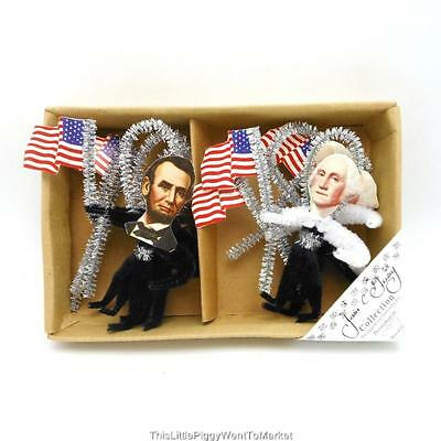 JULY 4TH ~ CHENILLE GEORGE & ABE PATRIOTIC ORNAMENTS ~ Box of 6