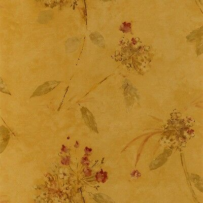 Wallpaper Rusty Red /& Bronze Floral on Gold Sheen Soft Texture
