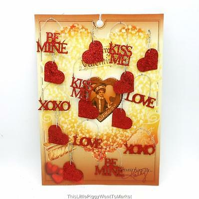 ASSORTED VALENTINE GLITTER ORNAMENTS ~ Package of 16
