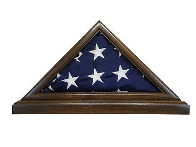 3 X 5 Black Walnut Flag Display Case & Base Capital Us Military Shadow Box Eagle