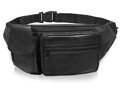Leather Bumbag Plain Black Money Belt Travel Holiday Bum Bags 7 Pockets R142K
