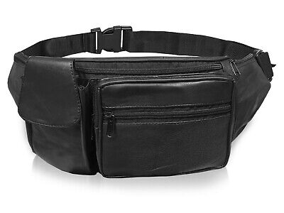 Leather Bumbag Soft Leather Plain Black Money Belt Travel Holiday Bumbags R142
