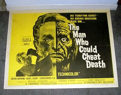 THE MAN WHO COULD CHEAT DEATH 22x28 ANTON DIFFRING orig HAMMER poster Style B