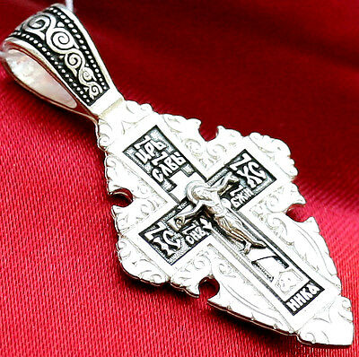 Russian Orthodox Icon Crucifix,Sterling Silver 925,Precious Cross Prayer. New !!