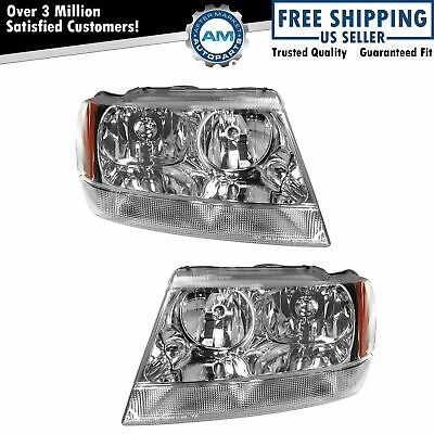 Headlights Headlamps Left & Right Pair Set for 99-04 Jeep Grand Cherokee Limited