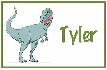 Personalized DINOSAUR Bag Tag Luggage Lunch Backpack School