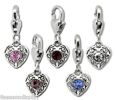 10 Love Heart Clip On Charms Fit Link Chain Bracelet
