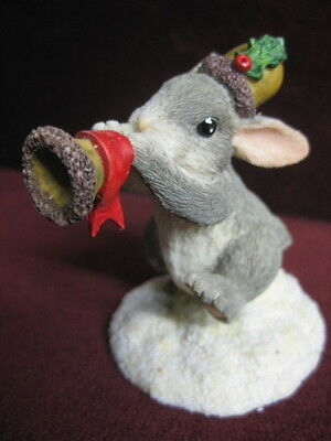 CHARMING TAILS  HOLIDAY TRUMPETER FIGURINE 87555~ bunny CUTE NEW FACTORY FRESH