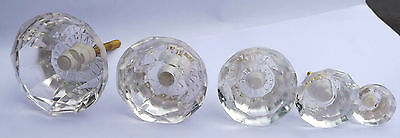 Clear Cut Facetted Glass Drawer and Cupboard Pull Door Knob 5 Sizes GB seller