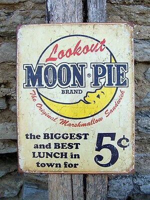 """Antique Style Moon Pies Metal Sign Retro Ad Kitchen Cafe Wall Decor Gift USA 16"""""""