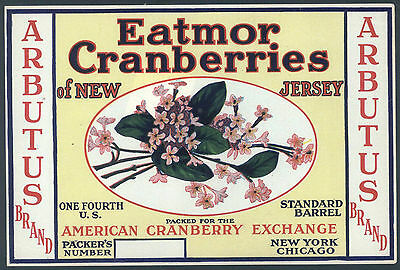 *Original* ARBUTUS Flower New Jersey CRANBERRY Label NOT A COPY!!