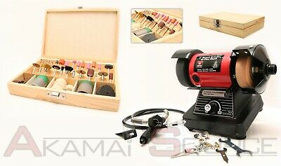"Combo 3"" Mini Bench Grinder w/ 1/8"" Flex Shaft Rotary Grinding Tool + 100pc Kit"