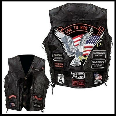 "Gilet jacket cut en cuir  "" Aigle / Live To Ride ""  Biker custom eagle vest"