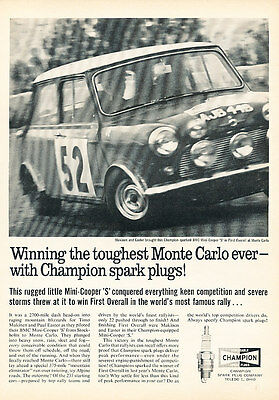 1965 Mini Monte Carlo Rally Spark Plug - Classic Vintage Advertisement Ad A81-B