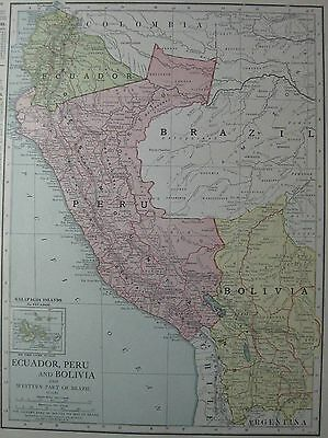 1913 Antique PERU Map BOLIVIA  Map ECUADOR Map of South America