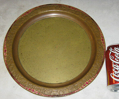 Antique Tiffany Studios Bronze Favrile Furnaces Ruby Tray Platter Art Charger