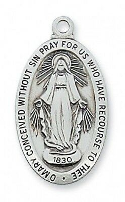 "IVL 1"" Womens Sterling Silver Oval Immaculate Conception Miraculous Mary Medal"
