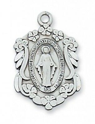 "IVL 7/8"" Womens Sterling Silver Flower Edge Immaculate Miraculous Mary Medal"