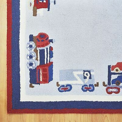 Pottery Barn Kids RAILWAY EXPRESS Round 5' RUG Trains