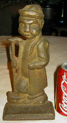 Antique Chinese Asian Man Cane Walking Stick Cast Iron Art Oriental Doorstop