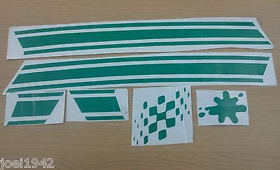 Green Side Panel Stripe Sticker Set. Flag & Splat. For Lambretta Gp New