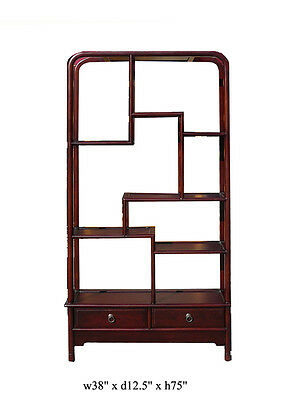 Chinese Oriental Mahogany Uneven Open Curio Display Cabinet ss860