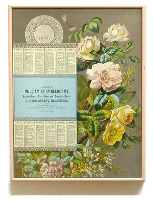 Antique Victorian 1880  Advertising Chromolithograph Almanac Calendar Cromblehol