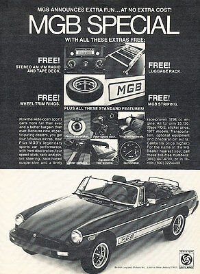 1977 British Leyland MG MGB - Special  - Classic Vintage Advertisement Ad D150