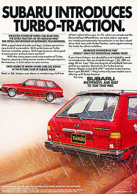 1983 Subaru Turbo 10 - Traction - Classic Vintage Advertisement Ad D145