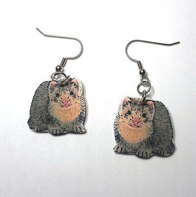 Ferret Earrings Handcrafted Plastic Made in USA
