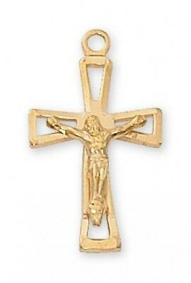 "IVL 3/4"" Womens Gold Sterling Silver Open Cross w Christ Corpus Crucifix Pendant"