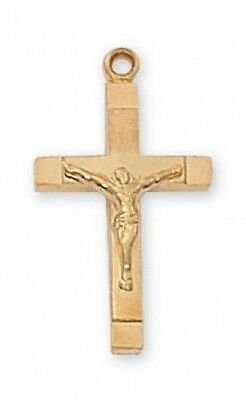 "IVL 3/4"" Womens Gold Sterling Silver Square Edge Cross Christ Crucifix Pendant"