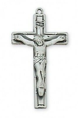 "IVL 1"" Womens Sterling Silver Overlay INRI Cross Christ Corpus Crucifix Pendant"