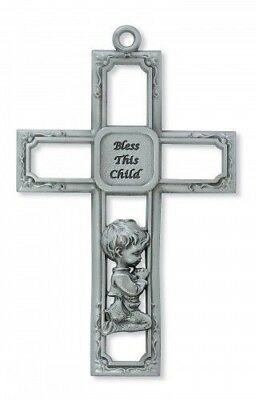 """IVL 6"""" Infant Silver Pewter Wall Cross Bless This Child Kneeling Praying Boy"""