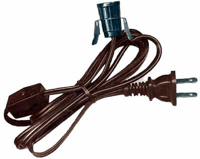 Lot of 10 CLIP-IN LAMP CORDS- 6 ft BROWN, On/Off Switch