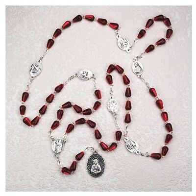 IVL Red Tear Drop Bead Seven Sorrows Blessed Virgin Mary Rosary Chaplet Necklace