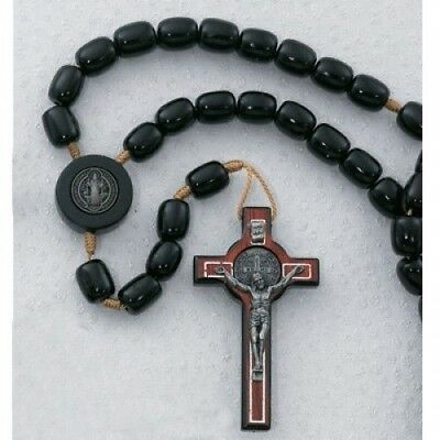 IVL Mens Black Wood Bead Corded Saint Benedict Rosary w Laminated Prayer Card