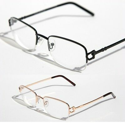 Men women rectangular slim half rimless smart looking eye-glasses RX clear lens