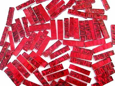 50 Mixed RED Mirror BORDER tiles 25mm x  6mm.  The Glass Store & More