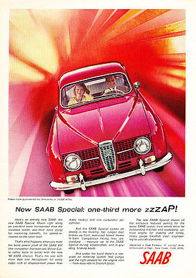 1966 Saab 850 Red ZZZAP Classic Vintage Advertisement - Y17