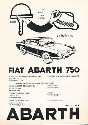 1959 Fiat Abarth 750 2 page Classic Vintage Advertisement Ad